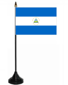 Nicaragua Desk / Table Flag with plastic stand and base.